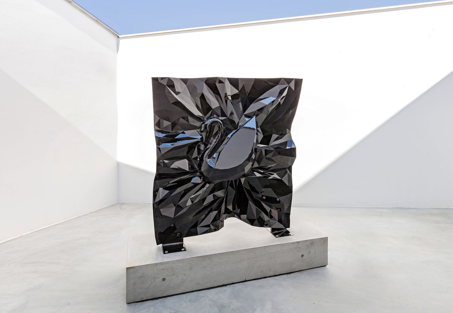 Vacuum packing luxury good Swarovski swan cnc milled aluminium black painted crystal facets polymesh by artist Nikolai Winter