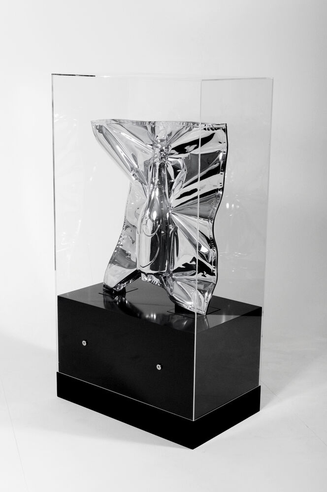 Vacuum sealed luxury good Dom Perignon champagne bottle in chrome foil by artist Nikolai Winter