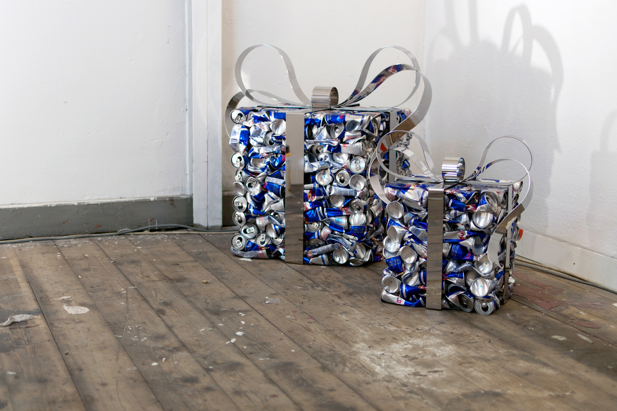 Recycled squashed Red Bull cans into gift by artist Nikolai Winter